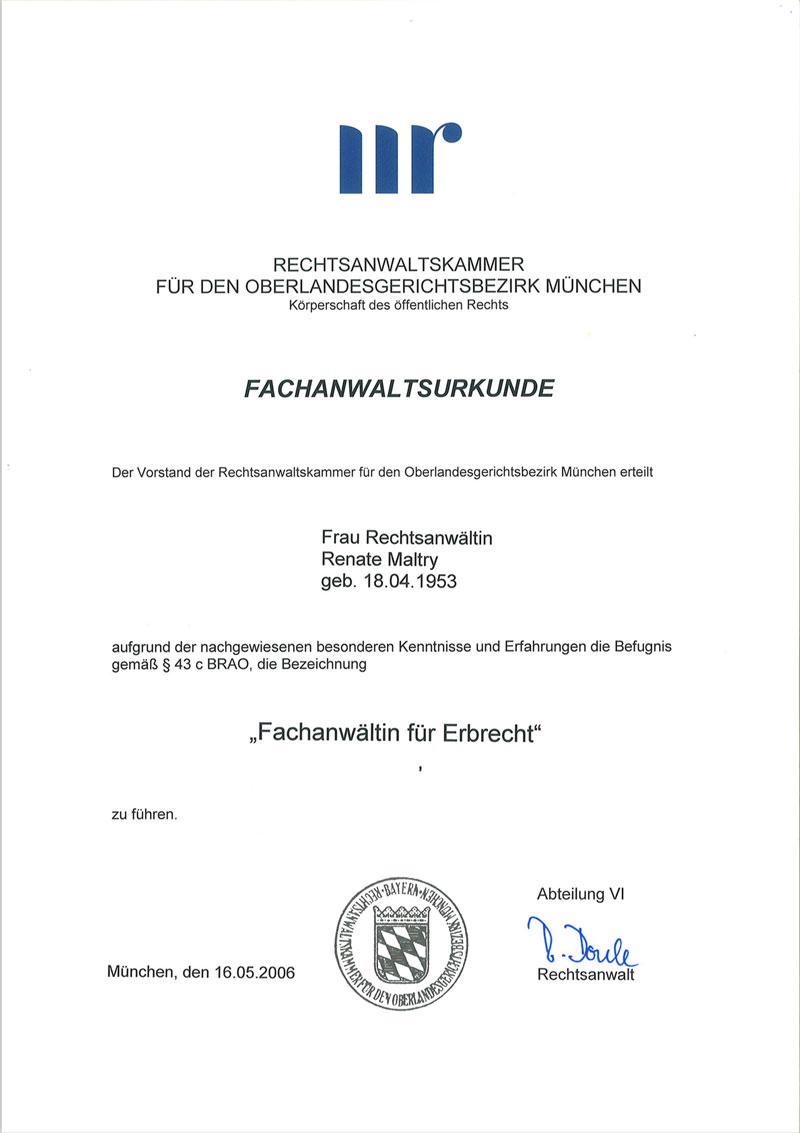 Fachanwalt Erbrecht Urkunde, Thumbnail