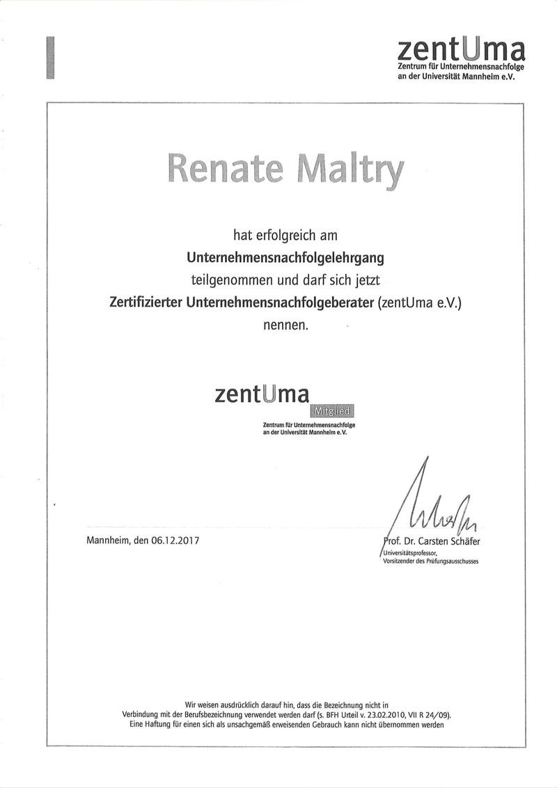 Zertifiziert Unternnehmensnachfolgeberater Urkunde, Thumbnail