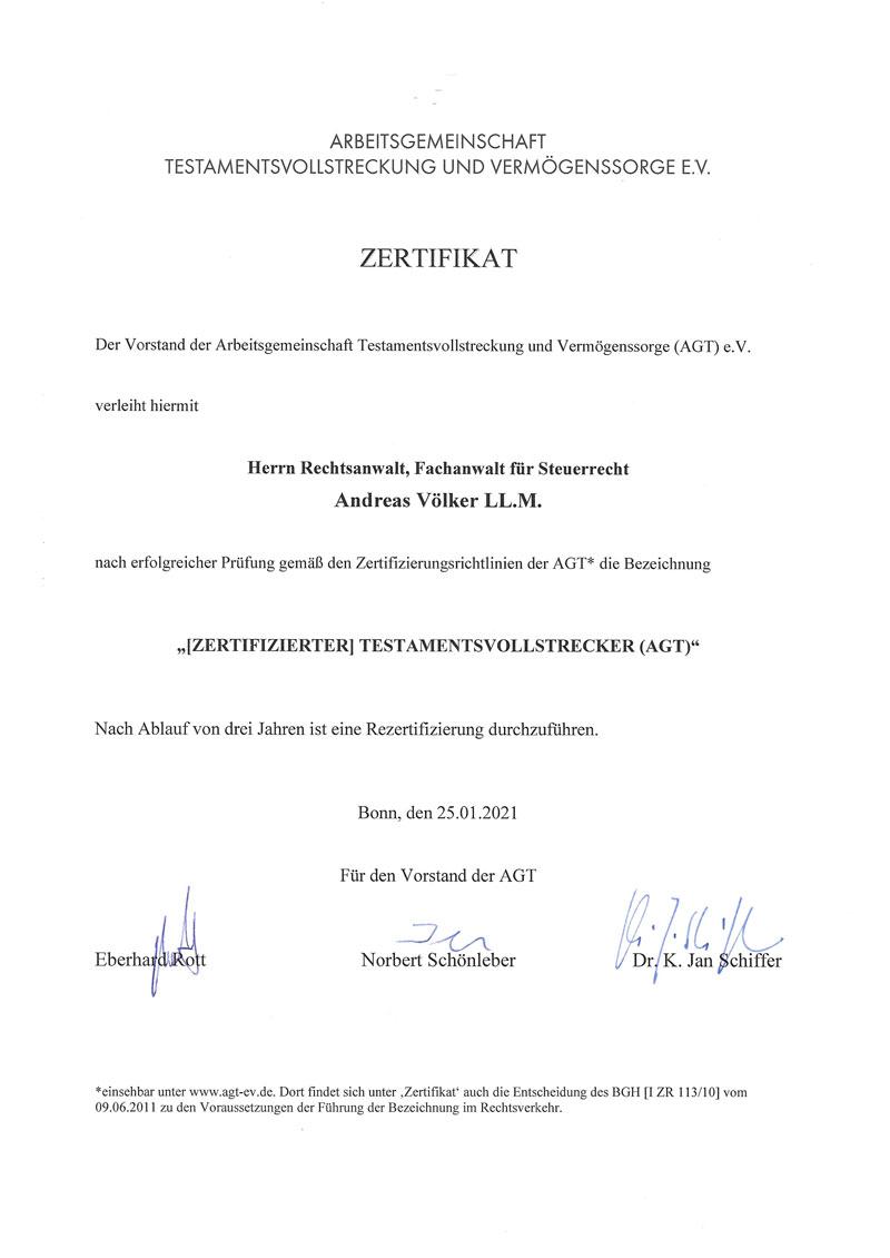 Zertifizierter Testamentsvollstrecker Zertifikat, Andreas Völker
