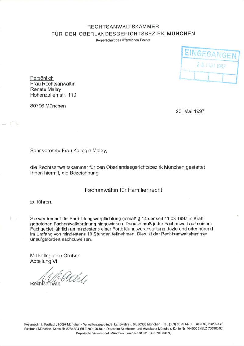 Fachanwalt Familienrecht Urkunde, Thumbnail